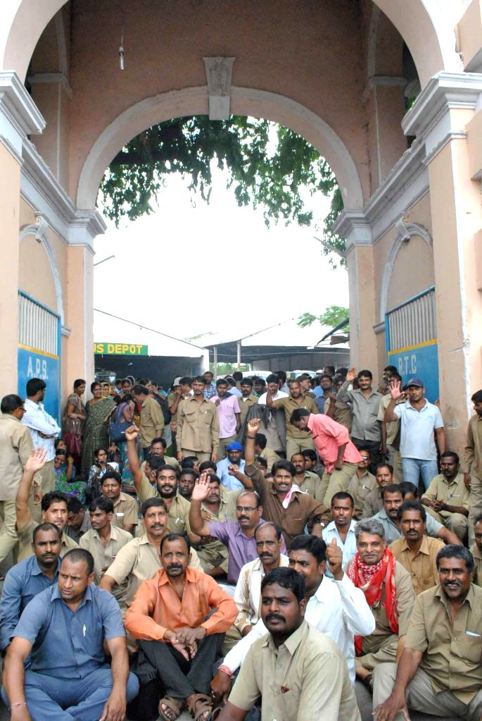 Bus drivers and conductors go on sudden strike in Hyderabad on August 1, 2014.
