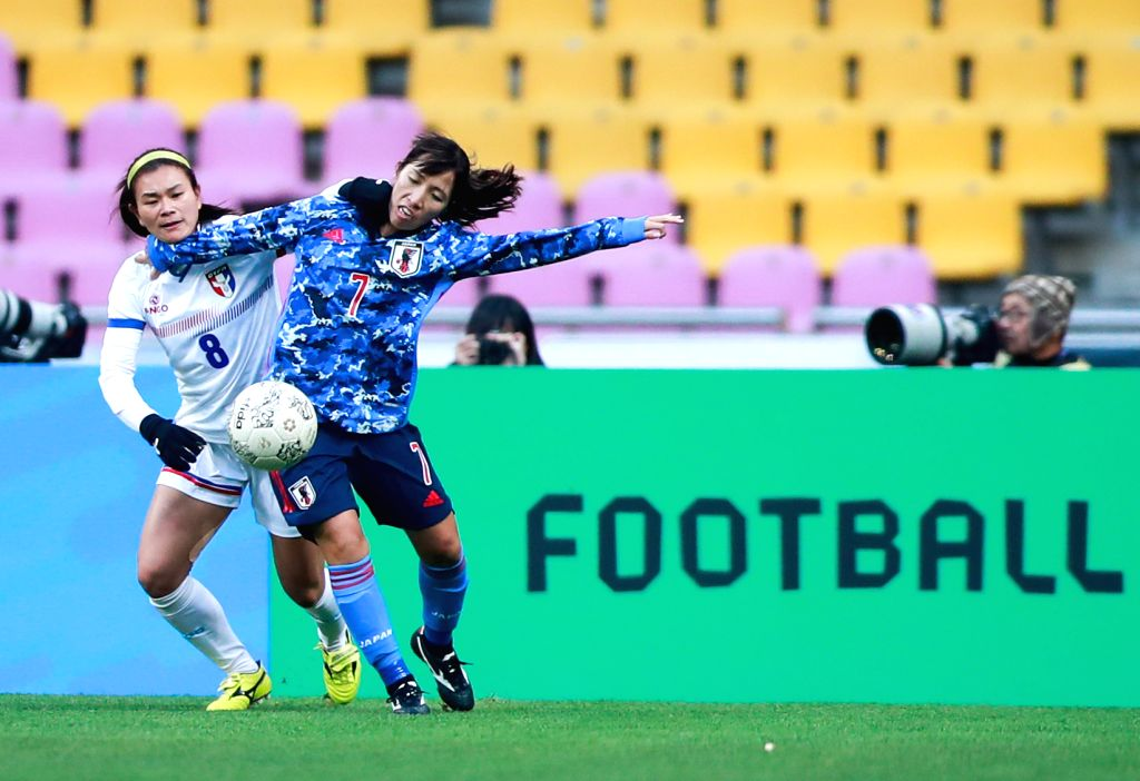 BUSAN, Dec. 11, 2019 - Wang Hsiang-huei (L) of Chinese Taipei vies against Emi Nakajima of Japan during their women's match at the 2019 East Asian Cup in Busan, South Korea, Dec. 11, 2019.