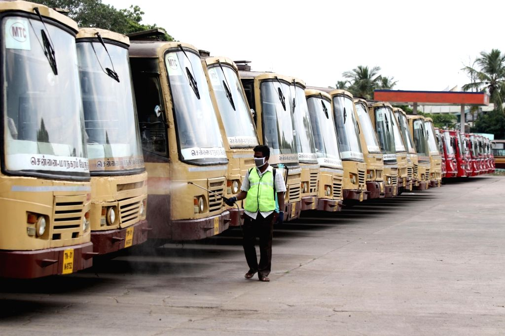 Buses being washed and sanitised after the Tamil Nadu Government permitted the resumption of inter-state bus services as part of several relaxations that shall apply to the extension of ...