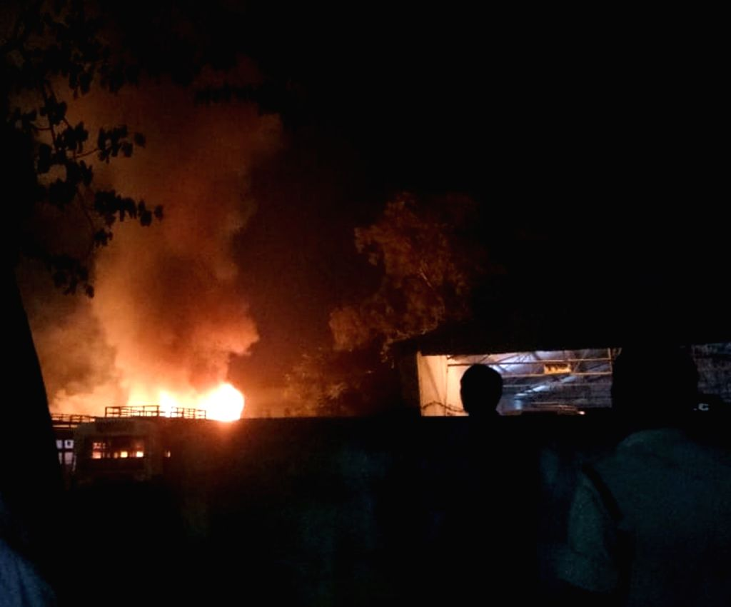 Buses catch fire reportedly due to a short circuit at RTC bus depot, in Telangana's Warangal on Aug 2, 2018.