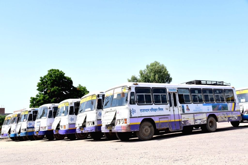 Buses remain parked at a Bikaner bus depot as various unions of Rajasthan Roadways employees called for a day-long strike to press for their demands, on Sept 17, 2018.