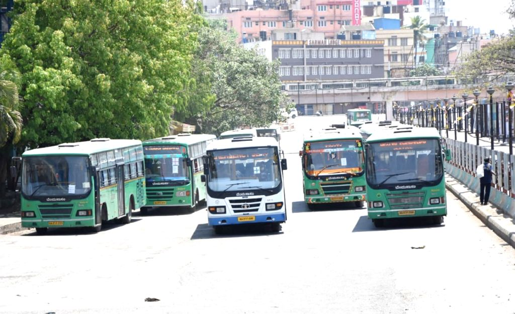 Buses remain parked at Majestic Bus depot on Day 2 of the 21-day nationwide lockdown imposed by the Narendra Modi government over the coronavirus pandemic; in Bengaluru on March 26, 2020. - Narendra Modi