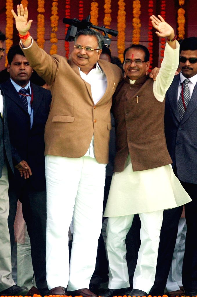 Business leaders during the swearing-in ceremony of Madhya Pradesh Chief Minister Shivraj Singh Chouhan in Bhopal on Dec. 14, 2013.