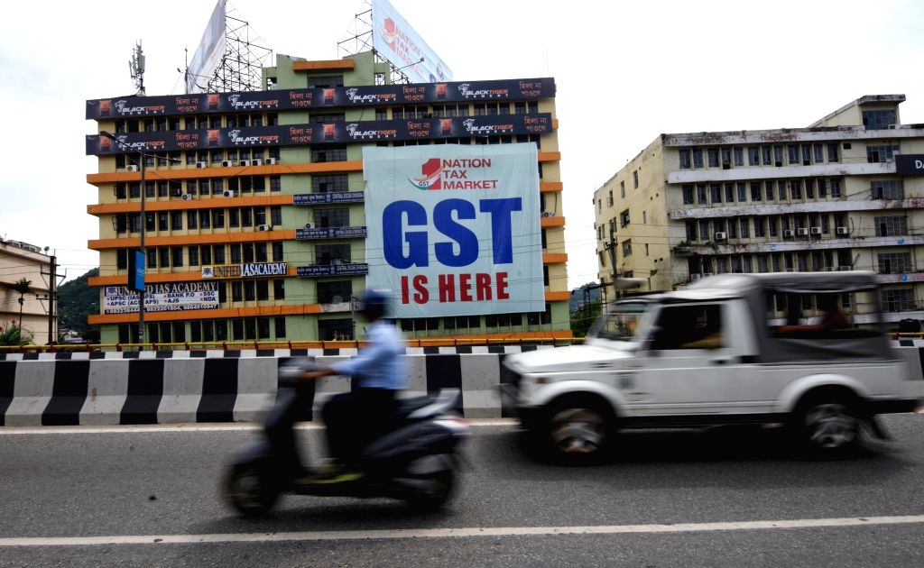 Businessmen stage a demonstration against GST in Lucknow on June 30, 2017.