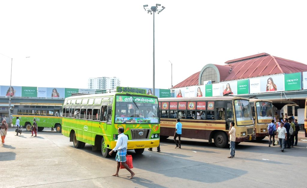 Busses remain parked at a bus depot as transport workers unions began an indefinite strike pressing for higher wages in Chennai on May 15, 2017. The transport workers went on strike after four rounds ...