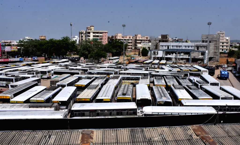 Busses remain parked at Jaipur's Sindhi Camp Bus Stand as various unions of Rajasthan Roadways employees called for a day-long strike to press for their demands, on Sept 17, 2018.