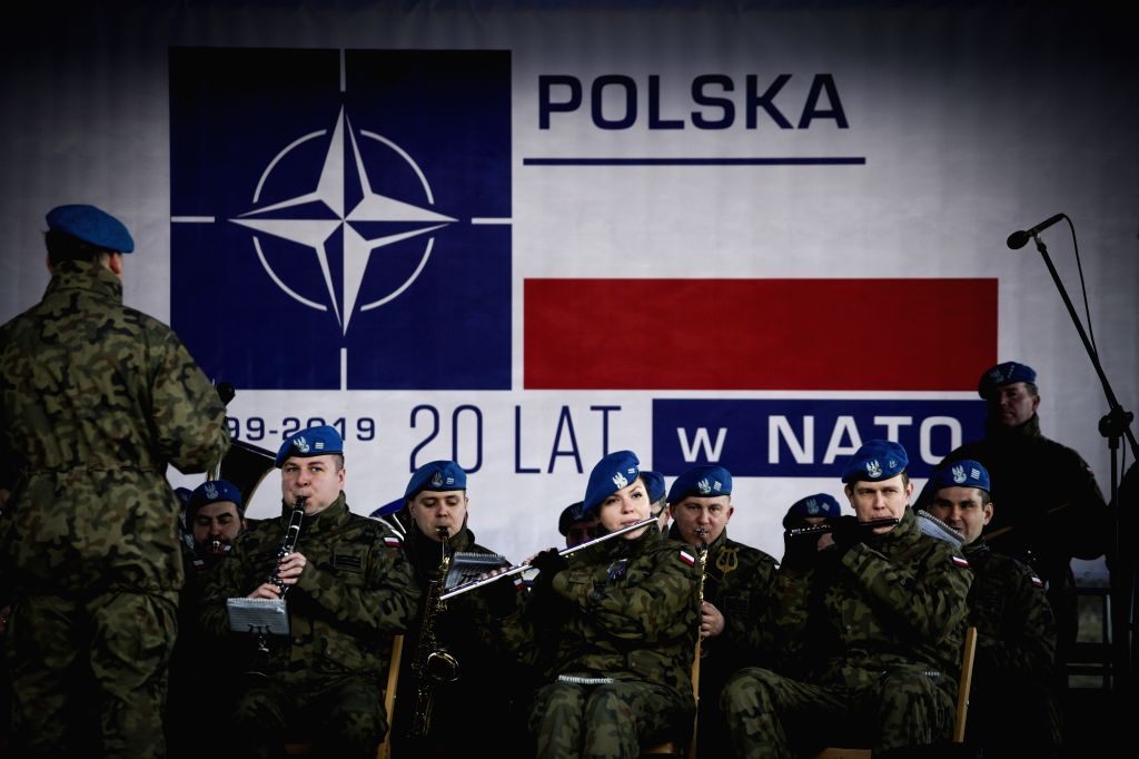 BYDGOSZCZ (POLAND), March 9, 2019 A military band plays at a military base in Bydgoszcz, Poland, on March 9, 2019. The local military base organized events on the occasion of the 20th ...