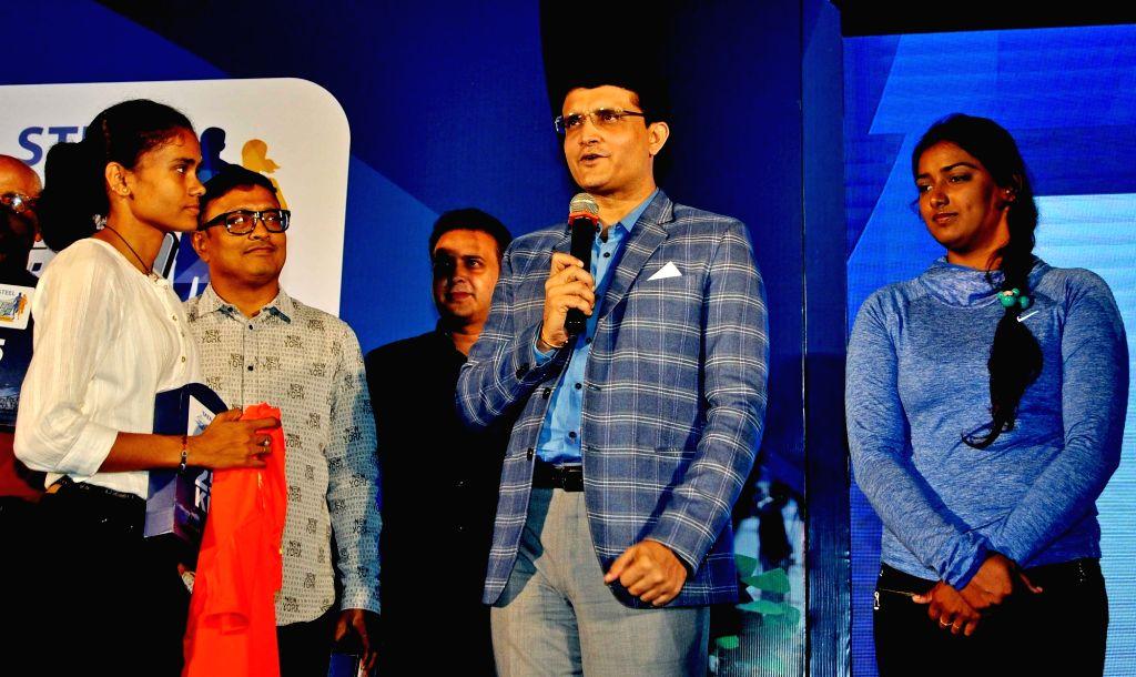 CAB President Sourav Ganguly addresses during Tata 25k press conference in Kolkata on Sept 23, 2016. - Sourav Ganguly