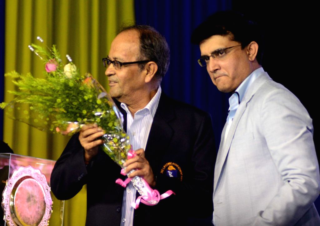 CAB president Sourav Ganguly and former cricketer Arunlal during CAB Annual Prize Distribution Ceremony at Eden in Kolkata on July 23, 2016. - Sourav Ganguly
