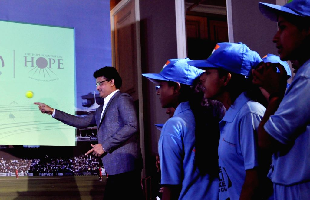 """CAB President Sourav Ganguly during a press conference regrading """"Street Child Cricket World Cup"""" in Kolkata, on Feb 23, 2019. - Sourav Ganguly"""