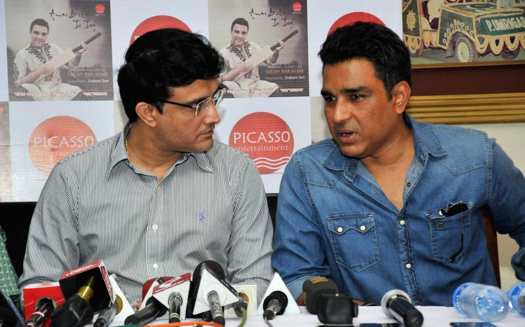 CAB President Sourav Ganguly, former cricketer Sanjay Manjrekar and Srabani Sen during the launch of Manjrekar's musical album in Kolkata on Oct 4, 2016. - Sourav Ganguly and Sanjay Manjrekar