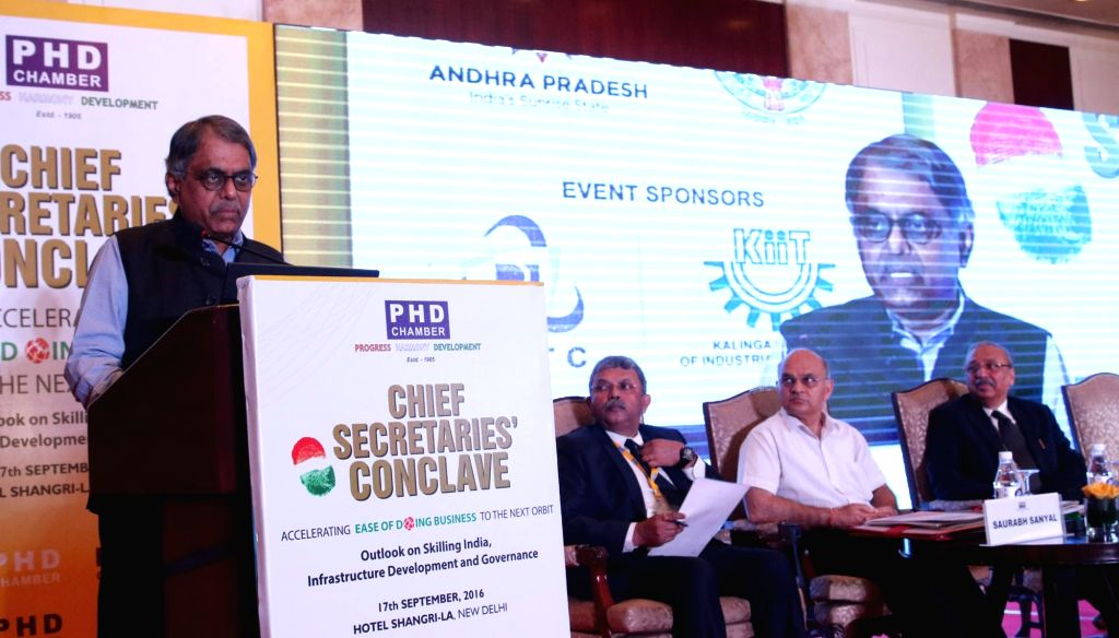 """Cabinet Secretary PK Sinha addresses during """"Chief Secretaries Conclave"""" organised by PHD chambers in New Delhi on Sept 17, 2016."""