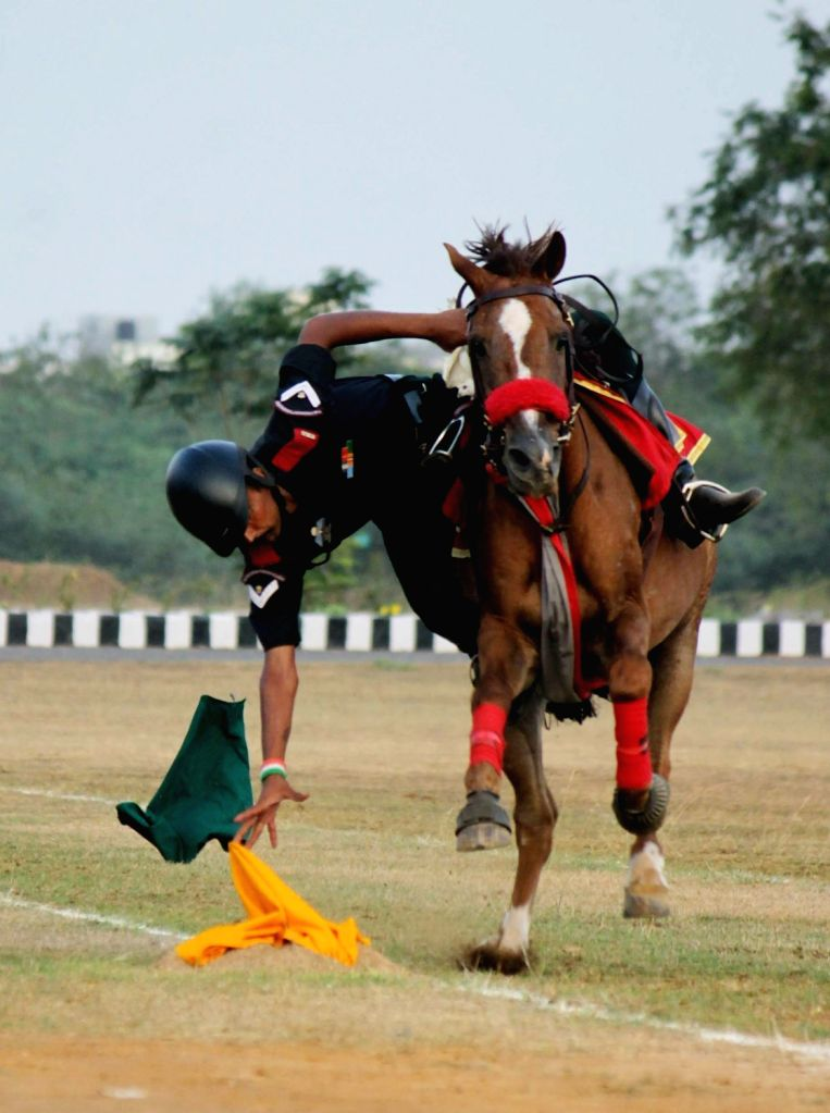 Cadets display their equestrian skills during a Combined Display organised as part of end of term activities at Officers Training Academy in Chennai, on March 10, 2017.