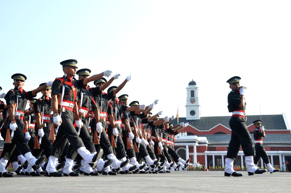 Cadets march during their Passing out Parade at the Indian Military Academy (IMA) in Dehradun, on June 8, 2019. A total of 382 cadets were commissioned into the Army after the Passing out ...