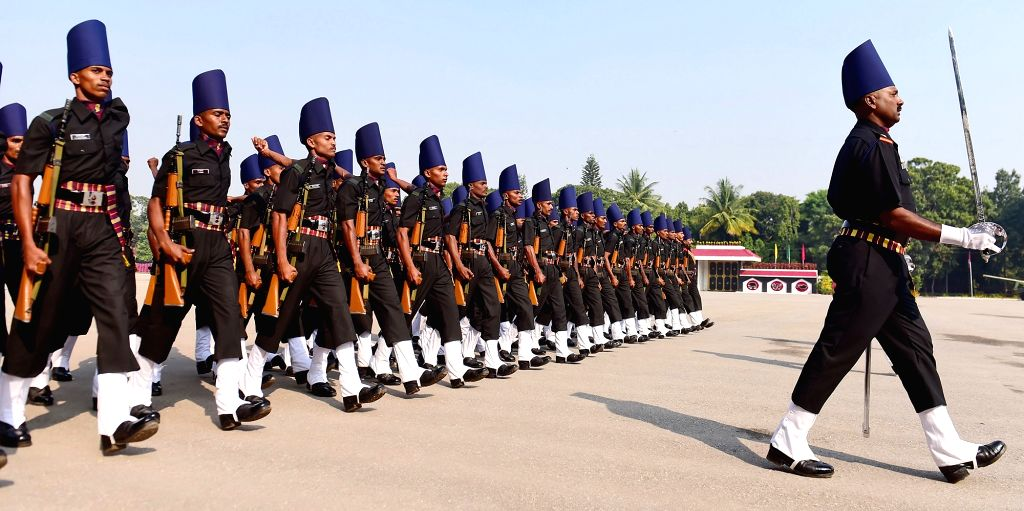 Cadets of Madras Sappers Regiment during ceremonial parade of Madras Sappers Regiment at MEG Centre, in Bengaluru on Oct 21, 2016.