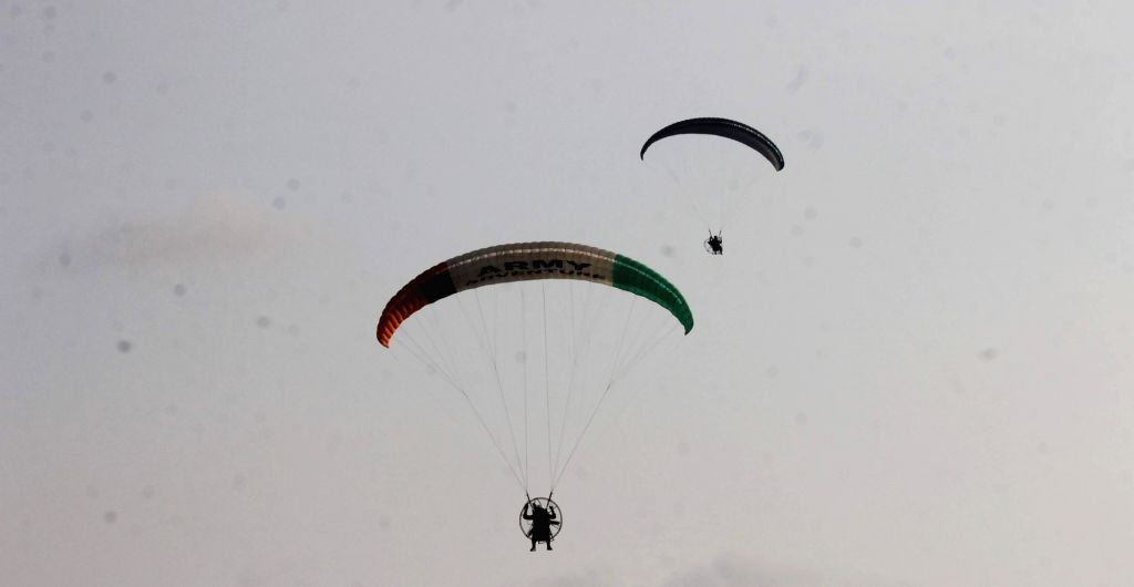 Cadets of Para Sailing Club display their skills during a Combined Display organised as part of end of term activities at Officers Training Academy in Chennai, on March 10, 2017.