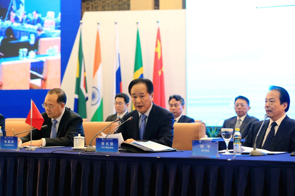 Cai Mingzhao (C), president of China's Xinhua News Agency and executive chairman of the first BRICS Media Summit, delivers a keynote speech during the first BRICS ...