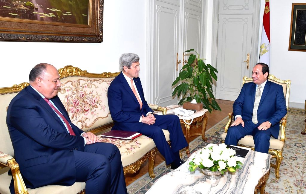 CAIRO, April 20, 2016 - U.S. Secretary of State John Kerry (C) meets with Egyptian President Abdel-Fattah El-Sisi (R) and Egyptian Foreign Minister Sameh Shoukry in Cairo, Egypt, on April 20, 2016. ... - Sameh Shoukry