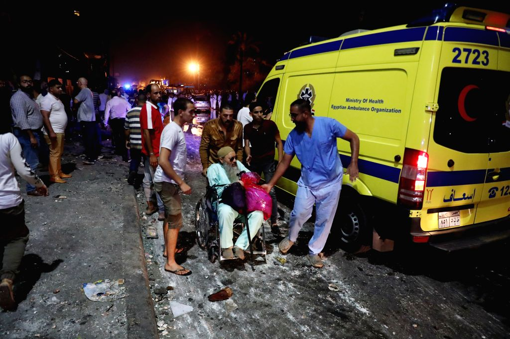 CAIRO, Aug. 5, 2019 - An ambulance is seen near the site of an explosion in Cairo, Egypt, Aug. 5, 2019. At least 16 people were killed and 21 others wounded after a multi-vehicle crash and the ...