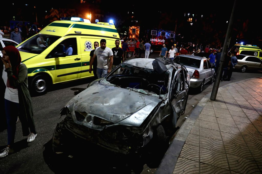CAIRO, Aug. 5, 2019 - Photo taken on Aug. 5, 2019 shows the site of an explosion in Cairo, Egypt. At least 16 people were killed and 21 others wounded after a multi-vehicle crash and the ensuing ...