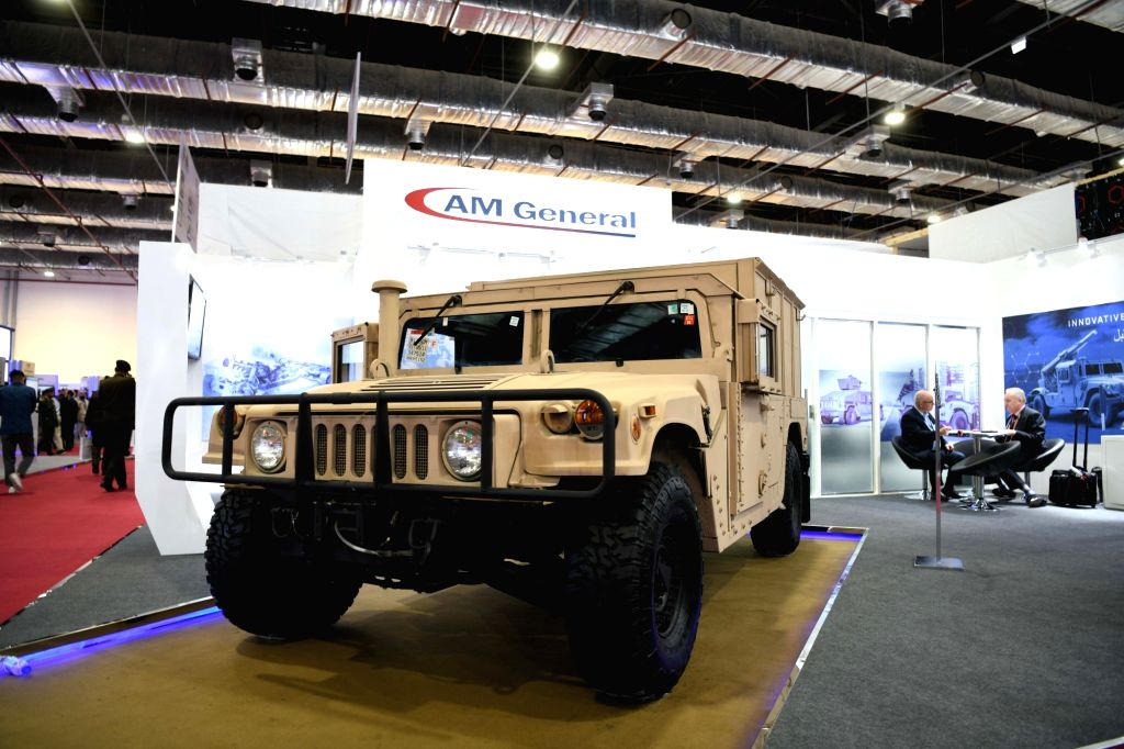 CAIRO, Dec. 4, 2018 - Photo taken on Dec. 4, 2018 shows the pavilion of AM General during the Egypt Defence Expo (EDEX) in Cairo, Egypt. Egypt's first defence expo, EDEX 2018, is held here from Dec. ...