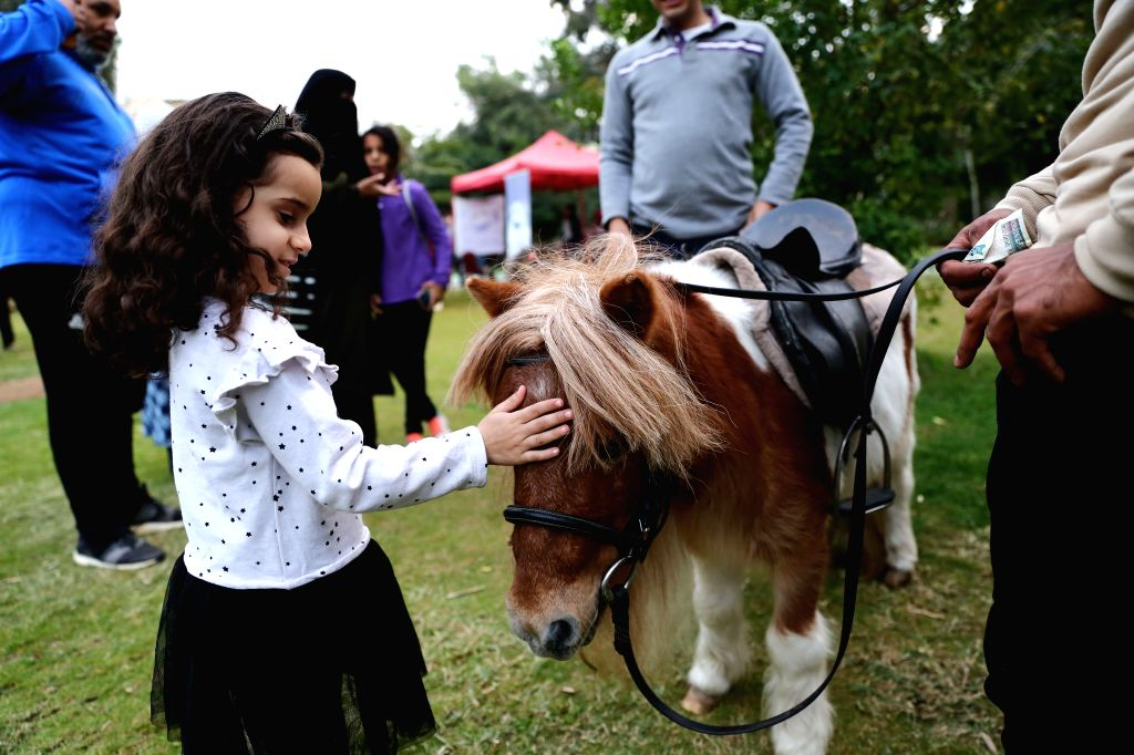 CAIRO, Dec. 7, 2019 - A girl touches a pet horse during a pet carnival in Cairo, Egypt, on Dec. 6, 2019. Held at the garden of Cairo's Child Center for Civilization and Creativity, Aleef 4th Open Air ...