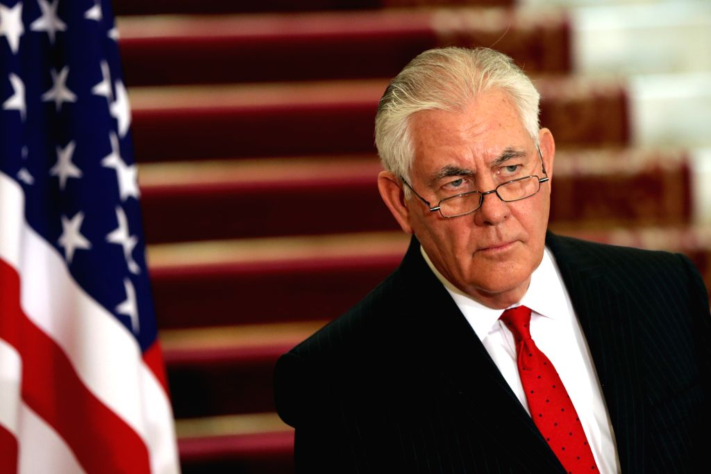 CAIRO, Feb. 12, 2018 - U.S. Secretary of State Rex Tillerson gives a press conference in Cairo, Egypt on Feb. 12, 2018. Tillerson arrived in Cairo on Sunday on the first leg of his Middle East tour ...