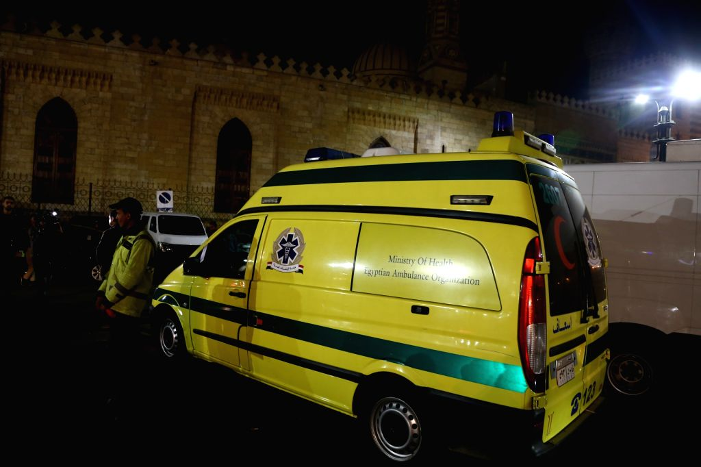 CAIRO, Feb. 19, 2019 - An ambulance is seen near the site of an explosion in Cairo, Egypt, on Feb. 19, 2019. A terrorist and two Egyptian policemen were killed Monday in a bomb explosion in the old ...