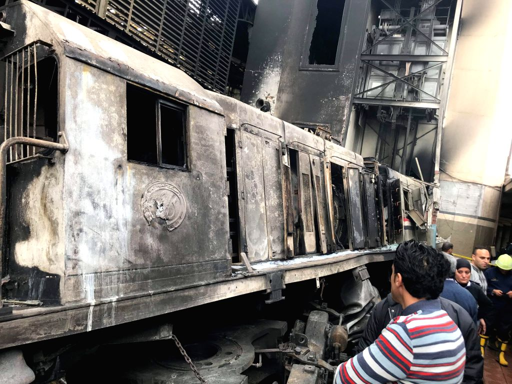 CAIRO, Feb. 27, 2019 (Xinhua) -- Photo taken on Feb. 27, 2019 shows a fire site at a train station in Cairo, Egypt. At least 20 people were killed and more than 40 others wounded when a fire erupted inside the main train station in the city center of