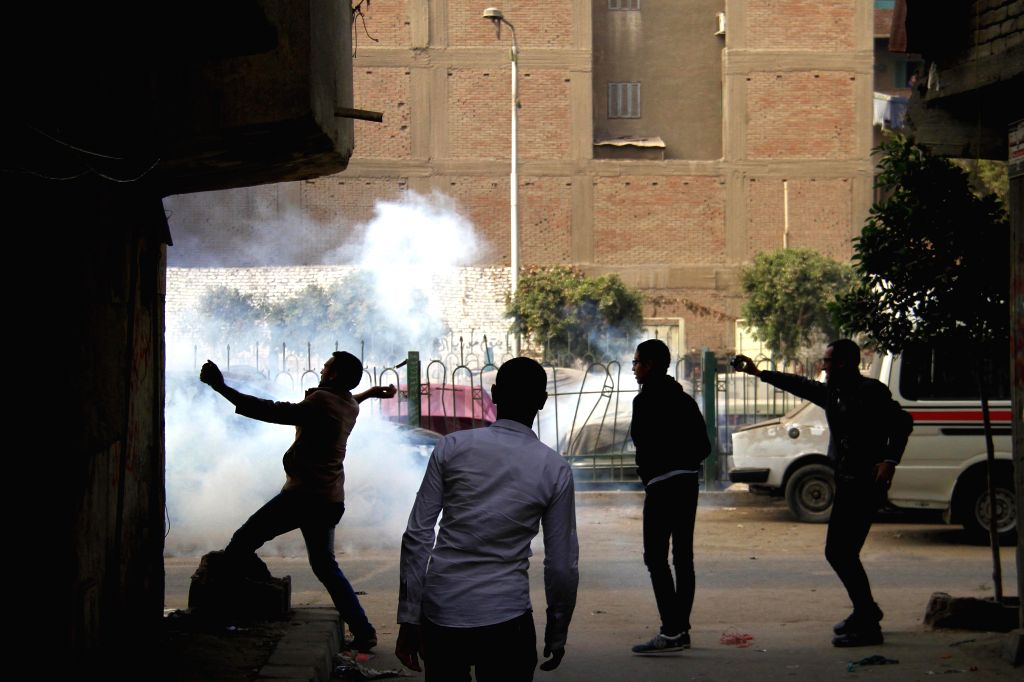 Supporters of Egypt's ousted President Mohamed Morsi are seen in clashes with the police during a demonstration in the district of Al Matarya, eastern Cairo, Egypt, ..