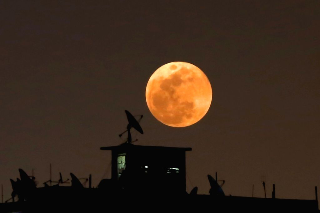 """CAIRO, Jan. 31, 2018 - """"Supermoon"""" appears in the sky over Cairo, Egypt, on Jan. 31, 2018."""