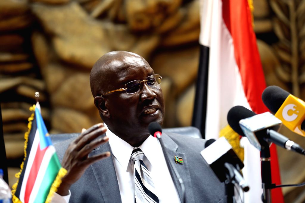 CAIRO, July 18, 2016 - South Sudan's Ambassador in Cairo Anthony Kon speaks to media during a press conference at the Journalist Syndicate in Cairo, Egypt on July 17, 2016. South Sudan's Ambassador ...