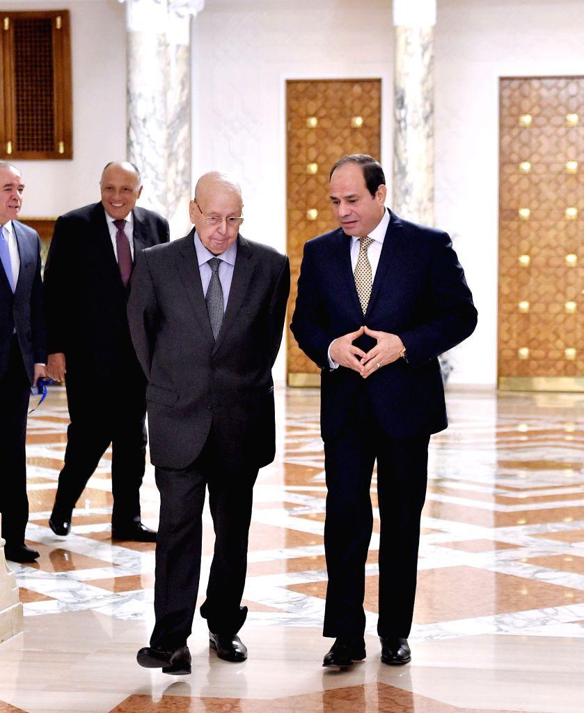CAIRO, July 18, 2019 - Egyptian President Abdel-Fattah al-Sisi (R) meets with visiting Algeria's interim President Abdelkader Bensalah in Cairo, Egypt on July 18, 2019. Algeria's interim President ...