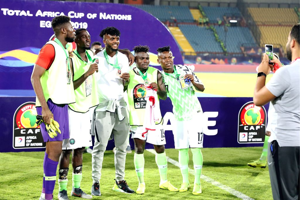 CAIRO, July 18, 2019 - Players of Nigeria pose with third place medals during the awarding ceremony after the third place final between Nigeira and Tunisia at the 2019 Africa Cup of Nations in Cairo, ...