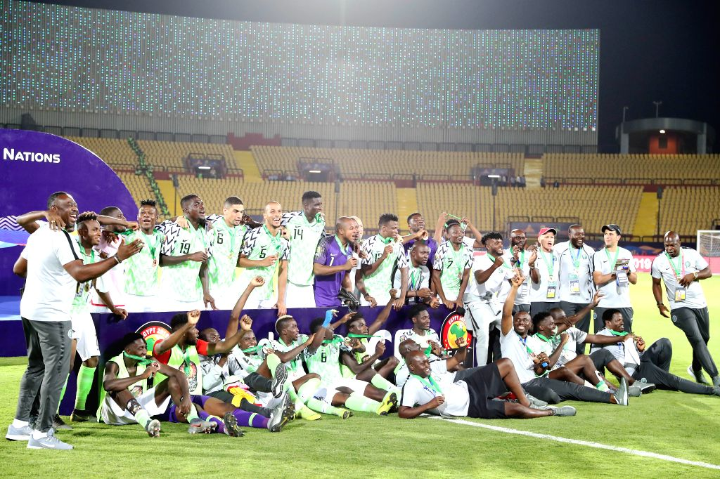 CAIRO, July 18, 2019 - Team Nigeria pose with third place medals during the awarding ceremony after the third place final between Nigeira and Tunisia at the 2019 Africa Cup of Nations in Cairo, ...