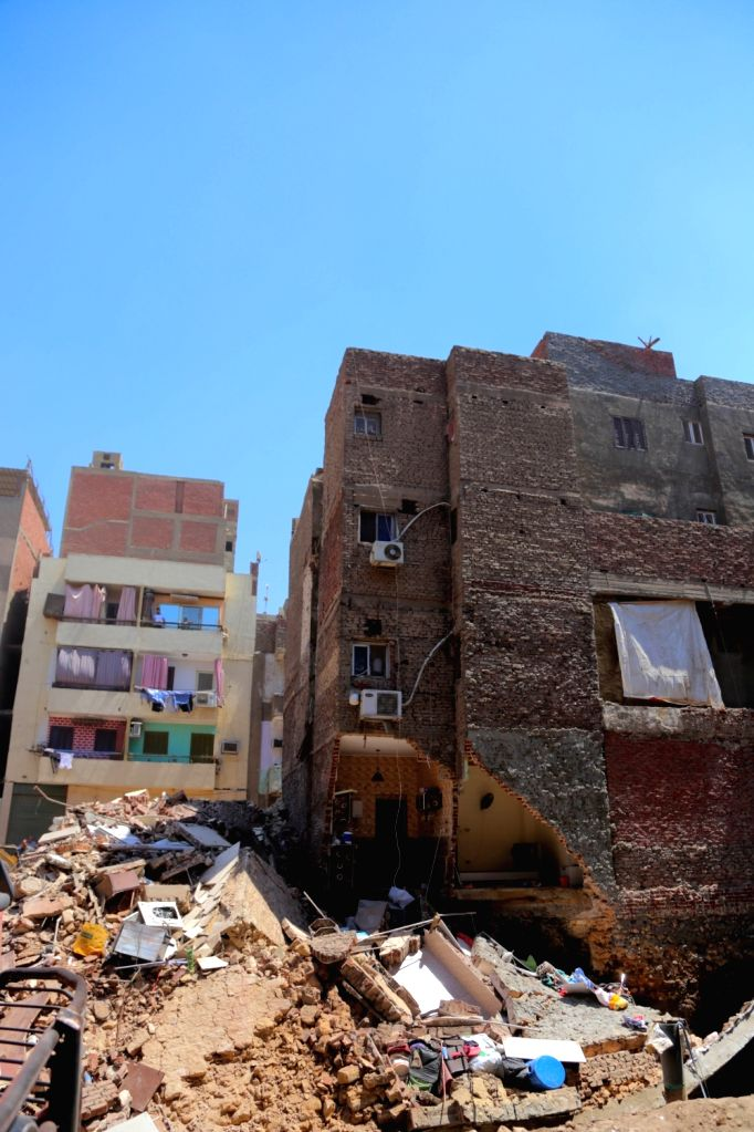 CAIRO, July 2, 2018 - Photo taken on July 2, 2018 shows the building collapse site in the Shobra borough in Cairo, Egypt. Two buildings collapsed in Cairo on Monday.