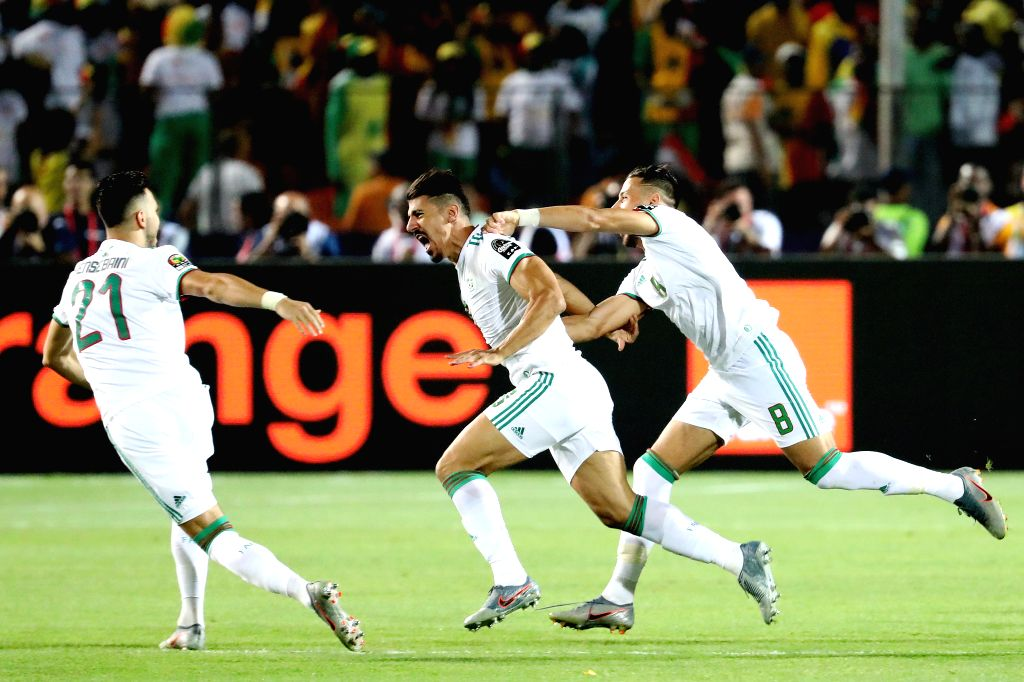 CAIRO, July 20, 2019 - Baghdad Bounedjah (C) of Algeria celebrates after scoring during the 2019 Africa Cup of Nations final match between Senegal and Algeria in Cairo, Egypt on July 19, 2019. ...