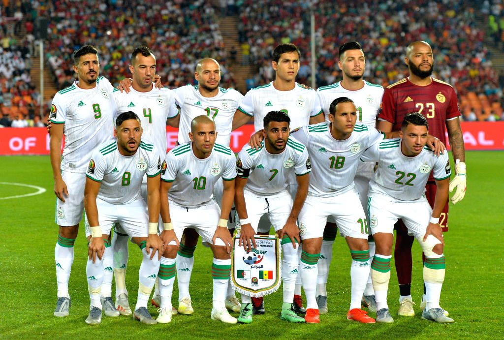 CAIRO, July 20, 2019 - Players of Algeria pose for group photos before the 2019 Africa Cup of Nations final match between Senegal and Algeria in Cairo, Egypt on July 19, 2019. Algeria won 1-0 and ...
