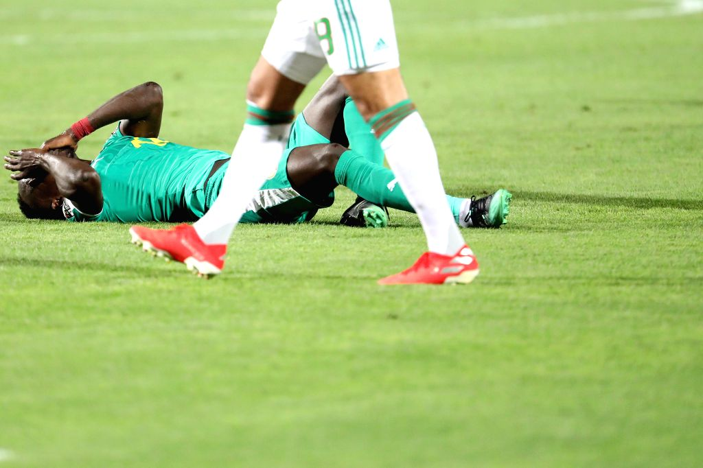 CAIRO, July 20, 2019 - Sadio Mane (C) of Senegal gets injured during the 2019 Africa Cup of Nations final match between Senegal and Algeria in Cairo, Egypt on July 19, 2019. Algeria won 1-0 and ...