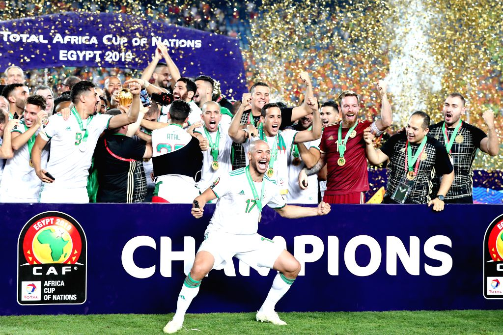 CAIRO, July 20, 2019 - Team Algeria celebrate during the awarding ceremony after the 2019 Africa Cup of Nations final match between Senegal and Algeria in Cairo, Egypt on July 19, 2019. Algeria won ...