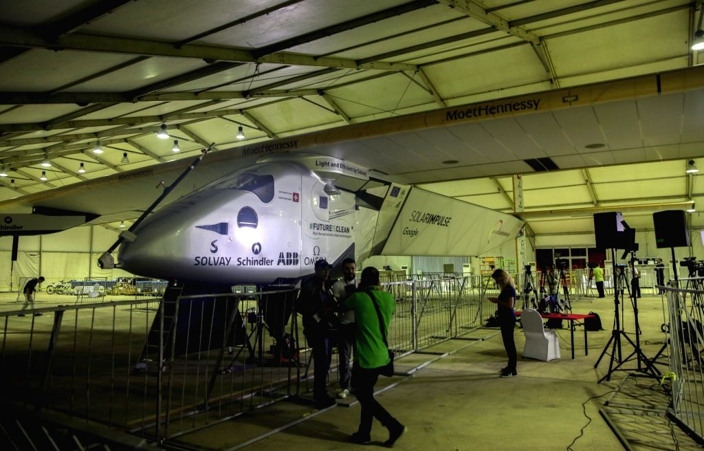 CAIRO, July 24, 2016 - Photo taken on July 23, 2016 shows the solar-powered aircraft Solar Impulse 2 at the international airport in Cairo, capital of Egypt. The solar-powered aircraft Solar Impulse ...