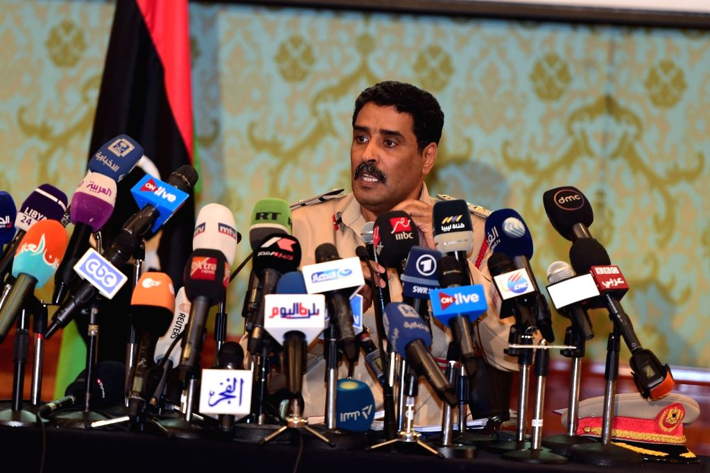 CAIRO, July 4, 2017 - Libyan military spokesman Ahmed al-Mesmary speaks at a press conference in Cairo, Egypt, on July 4, 2017. Libyan military spokesman Ahmed al-Mesmary on Tuesday accused Qatar, ...