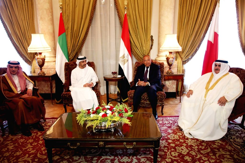 CAIRO, July 5, 2017 - Egyptian Foreign Minister Sameh Shoukry (2nd R) meets with Saudi Foreign Minister Adel Al-Jubeir (1st L), United Arab Emirates (UAE) Minister of Foreign Affairs Sheikh Abdullah ... - Sameh Shoukry and Khalid