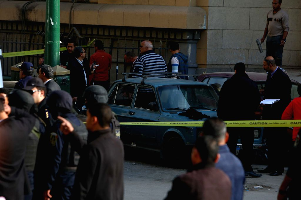 Photo taken on March 2, 2015 shows the scene of a blast site outside a court in central Cairo, Egypt. At least two people were killed and several others injured on ...
