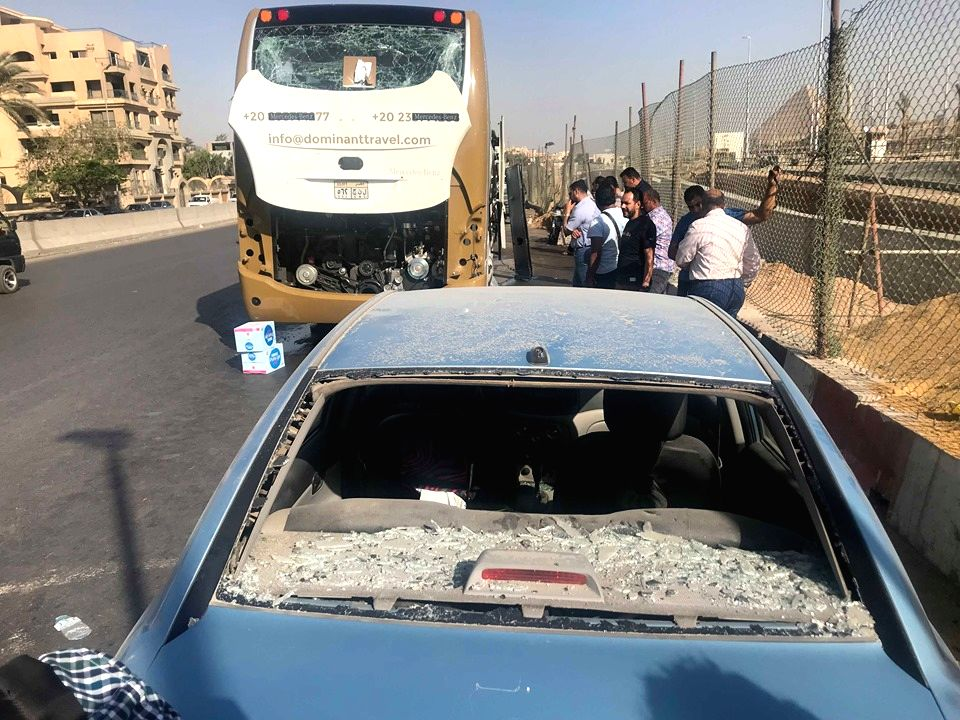 CAIRO, May 19, 2019 - Photo taken on May 19, 2019 shows the site of an explosion near  Cairo, Egypt. An explosion hit on Sunday a tourist bus near the Grand Egyptian Museum near the capital Cairo, ...