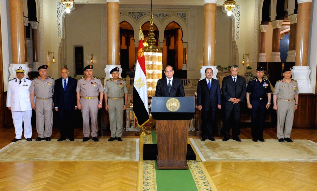 CAIRO, May 26, 2017 - Egyptian President Abdel-Fattah al-Sisi (C) delivers a speech in Cairo, Egypt, on May 26, 2017. Egyptian President Abdel-Fattah al-Sisi said on Friday that the Egyptian forces ...