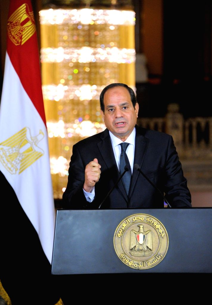CAIRO, May 26, 2017 - Egyptian President Abdel-Fattah al-Sisi delivers a speech in Cairo, Egypt, on May 26, 2017. Egyptian President Abdel-Fattah al-Sisi said on Friday that the Egyptian forces hit ...