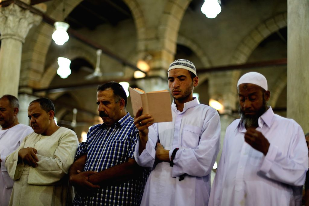 CAIRO, May 31, 2019 - Muslims attend a night prayer during Laylat Al-Qadr at Amr ibn al-As mosque in Cairo, Egypt, on May 31, 2019.