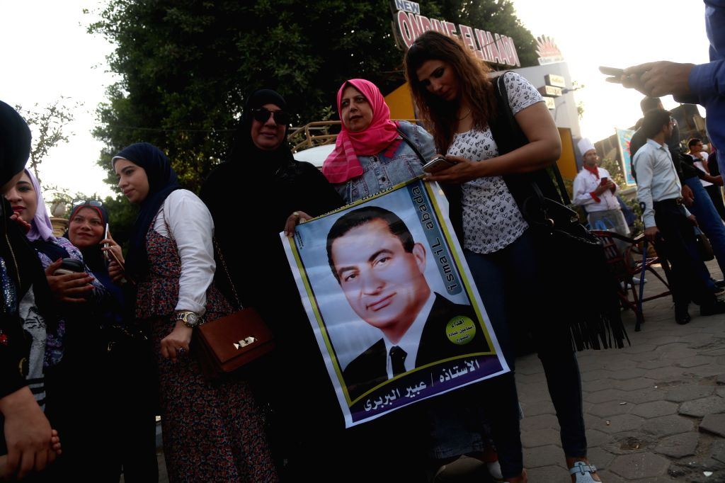 CAIRO, May 4, 2017 - Supporters of former Egyptian President Hosni Mubarak attend a gathering in front of Maadi Military Hospital to celebrate Mubarak's 89th birthday in Cairo, capital of Egypt, on ...