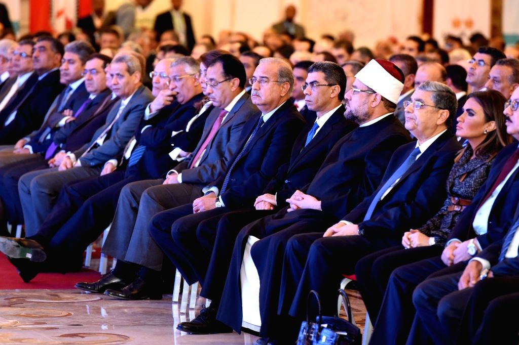 CAIRO, Nov. 13, 2016 - Egyptian Prime Minister Sherif Ismail (6th R) attends the first session of a three-day economic conference, attended by several ministers as well as hundreds of economists and ... - Sherif Ismail